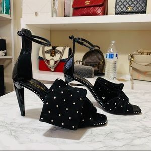 SAINT LAURENT Rhinestone Bow Heels
